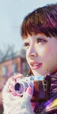 Аватар вконтакте Азиатская девушка с фотокамерой, by mazepla