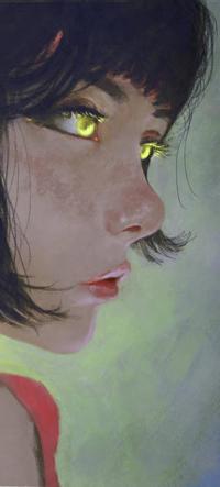 Аватар вконтакте Темноволосая желтоглазая девушка в профиль, by AugustoCasarin