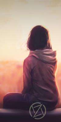 Аватар вконтакте Темноволосая девушка сидя на лавочке смотрит в даль, by Ezekuro