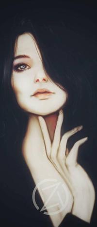 Аватар вконтакте Девушка с рукой у лица на темном фоне, by Ezekuro