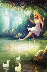 Аватар вконтакте Девушка на качели над водой, где плавают утята, by Yaoyao Ma Van As