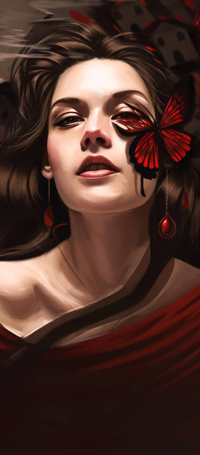Аватар вконтакте Длинноволосая девушка с красной бабочкой на лице, by vurdeM