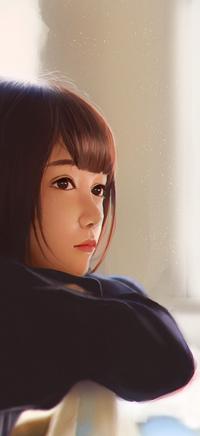Аватар вконтакте Девушка азиатка на размытом фоне, by Avnil