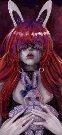 Аватар вконтакте Рыжеволосая плачущая девушка с кроличьими электронами ушками держит в руках плющевую зайку, by EvilInspiration