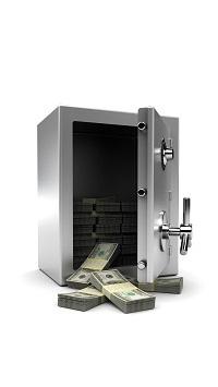 Аватар вконтакте Открытый маленький сейф с пачками долларовых купюр на белом фоне