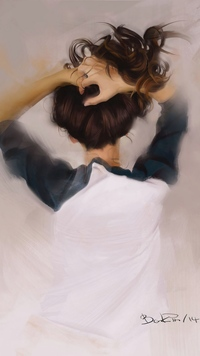 Аватар вконтакте Девушка стоит повернувшись спиной и заложив руки за голову, by Ilya Benkin