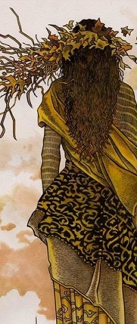 Аватар вконтакте Девушка стоит к нам спиной с венком из осенних листьев
