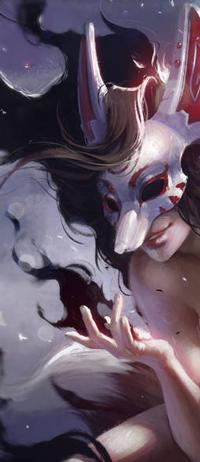 Аватар вконтакте Девушка в маске лисы, by Kate-FoX