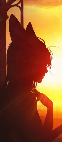 Аватар вконтакте Силуэт девушки с лисичьими ушками, by Kate-FoX