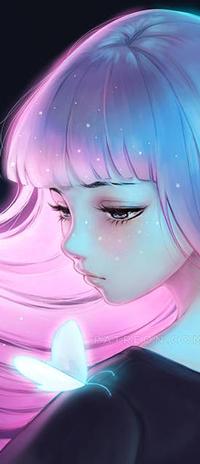 Аватар вконтакте Девушка с розовыми волосами и сидящей бабочкой на плече, by Ladowska