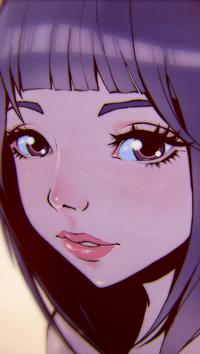 99px.ru аватар Девушка с сиреневыми волосами, by Ladowska
