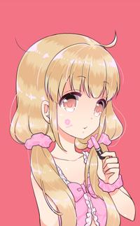 Аватар вконтакте Девушка с двумя хвостиками и помадой в руке на розовом фоне (kiss me / поцелуй меня)