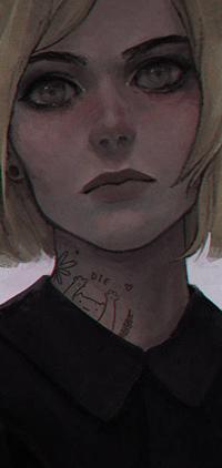 Аватар вконтакте Светловолосая девушка с татуировкой кота на шее (Die), by arnaerr