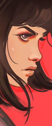 Голая девочка на красном фоне