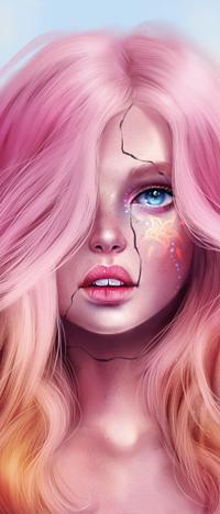 Аватар вконтакте Голубоглазая девушка с розово-оранжевыми волосами и трещиной на лице, by SandraWinther