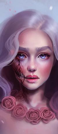 Аватар вконтакте Длинноволосая голубоглазая девушка с частью челюстью на лице, розы в виде украшения на шее, by SandraWinther