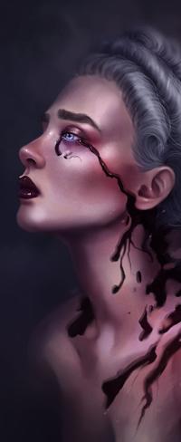 Аватар вконтакте Плачущая кровью белокурая голубоглазая девушка в профиль, by SandraWinther