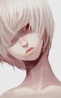 Аватар вконтакте Белокурая красноглазая девушка с короткими волосами, с длинной челкой, закрывающей один глаз, склонила голову набок