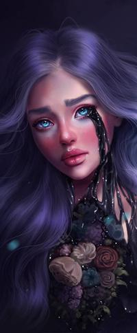 Аватар вконтакте Голубоглазая девушка с длинными пепельно-фиолетовыми волосами, с черной жидкостью из глаз, и цветами на груди, by SandraWinther