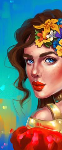 Аватар вконтакте Голубоглазая девушка с цветами в волосах, by SandraWinther