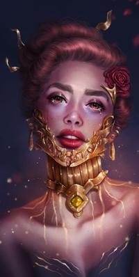 Аватар вконтакте Плачущая рыжеволосая девушка с золотым украшением на лице, красной розой в волосах, by SandraWinther
