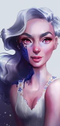 Аватар вконтакте Белокурая девушка с красными глазами у которой синяя жидкость на лице, by SandraWinther