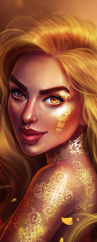 Аватар вконтакте Золотоволосая девушка с золотыми узорами на лице и теле, by SandraWinther