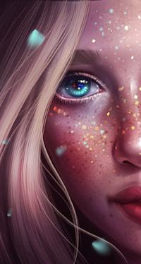 Аватар вконтакте Светловолосая голубоглазая девушка с блестками на лице, by SandraWinther
