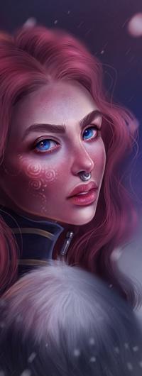Аватар вконтакте Рыжеволосая голубоглазая девушка с рисунком на лице под снегопадом, by SandraWinther