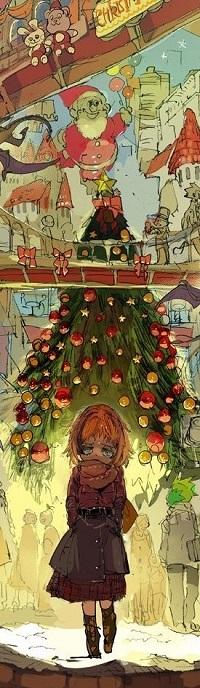 Аватар вконтакте Девушка стоит на фоне новогодней елки