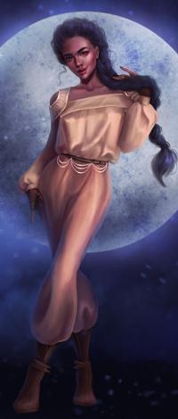 Аватар вконтакте Темноволосая девушка с длинной косок в золотом комбинезончике стоит на фоне полной луны, by SandraWinther