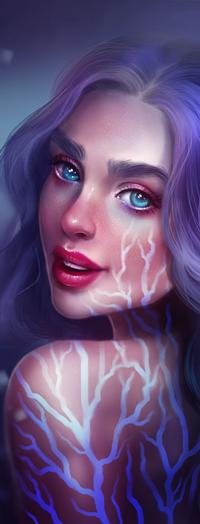 Аватар вконтакте Голубоглазая с пепельно-фиолетовыми волосами девушка с линиями на теле и лице, by SandraWinther