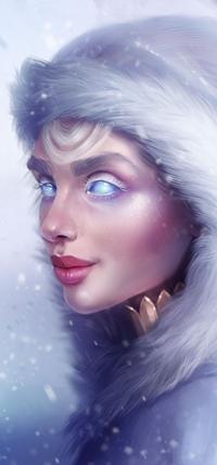 Аватар вконтакте Голубоглазая девушка в капюшоне под снегопадом, by SandraWinther