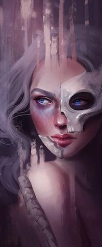 Аватар вконтакте Белокурая голубоглазая девушка с черепом на лице, by SandraWinther