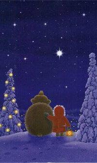Аватар вконтакте Девочка с медведем смотрят на ночное небо, by Eva Melhuish