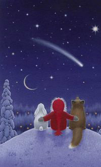 Аватар вконтакте Девочка с лисой и зайцем смотрят на ночное небо, by Eva Melhuish