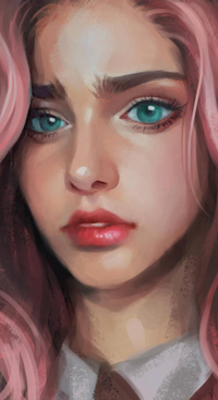 Аватар вконтакте Голубоглазая девушка с розовыми волосами, by roerow