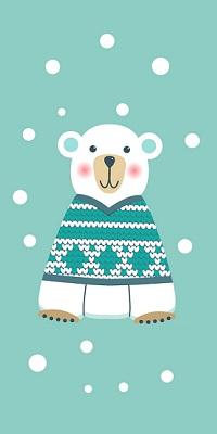 Аватар вконтакте Медведь стоит в вязанном свитере под снегом