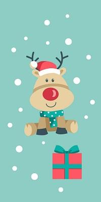 Аватар вконтакте Рождественский олень в шарфе и шапочке с подарком под снегом