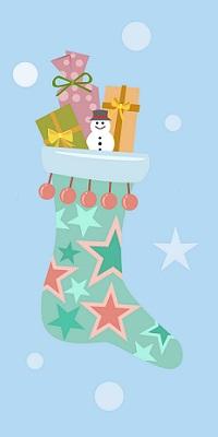 Аватар вконтакте Рождественский носок с кучей подарков на голубом фоне