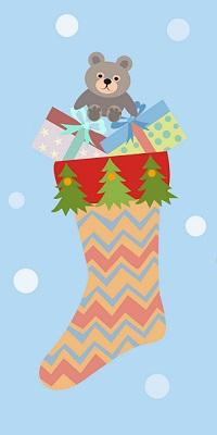 Аватар вконтакте Рождественский носок с кучей подарков и мишкой на голубом фоне