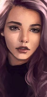 99px.ru аватар Девушка с сиреневыми волосами, by roerow