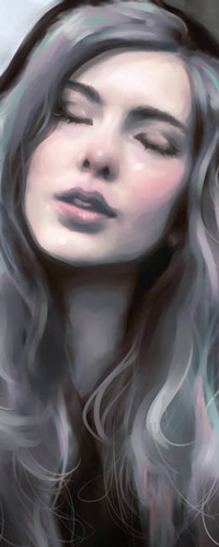 99px.ru аватар Девушка с длинными пепельно-сиреневыми волосами и закрытыми глазами, by roerow