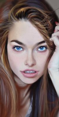 99px.ru аватар Голубоглазая девушка с рукой у головы, by Warmics