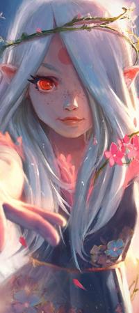 99px.ru аватар Белокурая эльфийка с алым глазом и знаком на лбу, by lehuss
