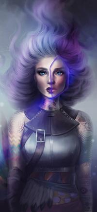 99px.ru аватар Татуированная голубоглазая девушка с пепельно-фиолетовыми волосами, by SandraWinther