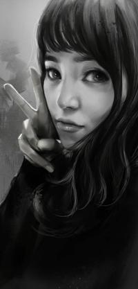 Аватар вконтакте Черно-белый рисунок девушка показывает знак V / Ви, by ilovepumpkin2014