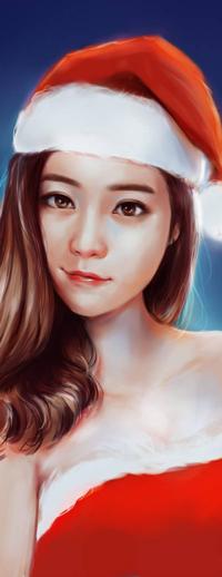 Аватар вконтакте Рыжеволосая азиатская девушка в костюме Санта-Клауса, by ilovepumpkin2014