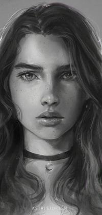 Аватар вконтакте Черно-белый рисунок девушки, by Astri-Lohne