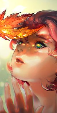 Аватар вконтакте Рыжеволосая зеленоглазая девушка смотрит на осенний лист, by yuumei